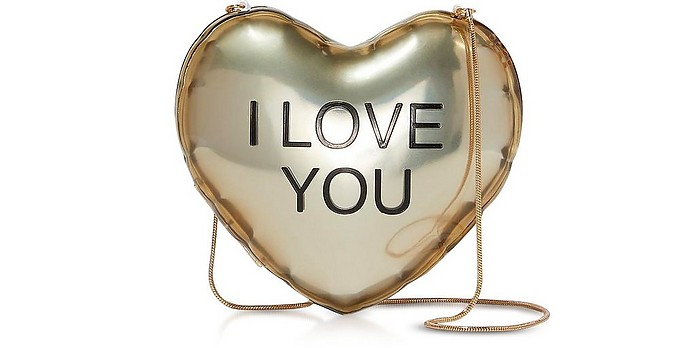 The Balloon Minaudiere Gold Plastic Heart Clutch - Marc Jacobs