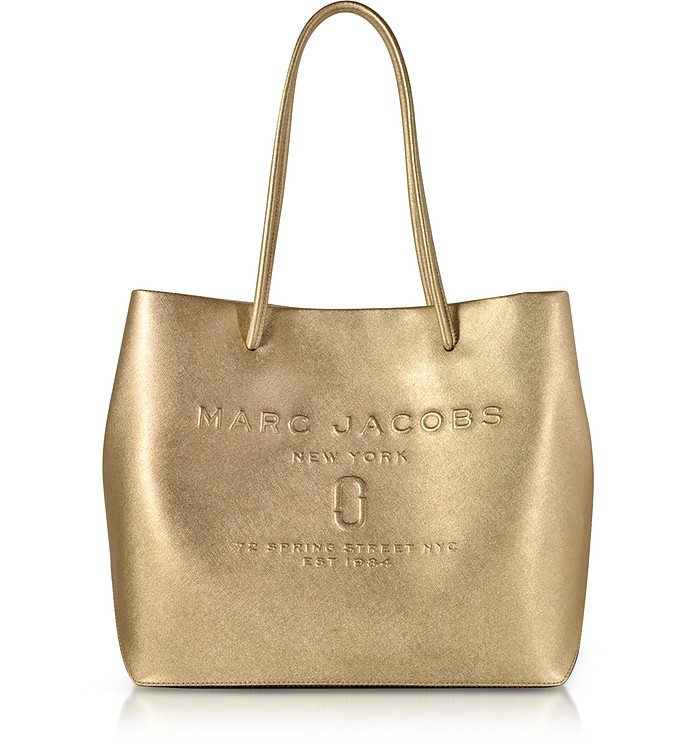 Marc Jacobs Gold Laminated Leather Logo Shopper East-West Tote at ... 75c08c2ee44d3