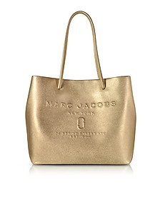 Laminated Leather Logo Shopper East-West Tote - Marc Jacobs
