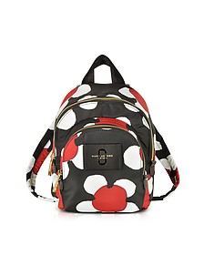 Red/Black Daisy Print Nylon Mini Double Backpack - Marc Jacobs