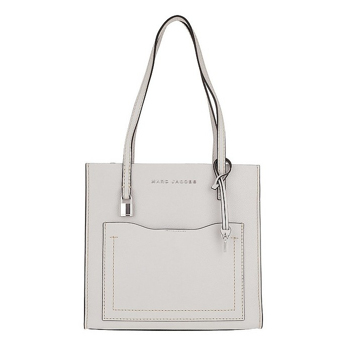 Medium Grind T Pocket Tote Bag Leather Ghost Grey - Marc Jacobs