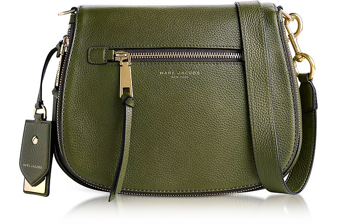 bd565eb1d6 Marc Jacobs Army Green Recruit Leather Saddle Bag at FORZIERI