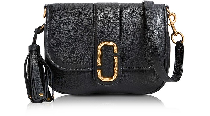 Black Pebbled Leather Interlock Small Courier Crossbody Bag - Marc Jacobs b028c8e0e2cfb