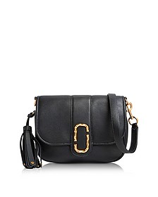 Black Pebbled Leather Interlock Small Courier Crossbody Bag - Marc Jacobs