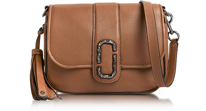 Oak Pebbled Leather Interlock Small Courier Crossbody Bag - Marc Jacobs 5274760c0734d
