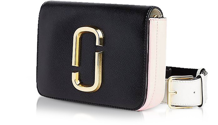 a9c664335865 Marc Jacobs black / pink Saffiano Leather Hip Shot Convertible Shoulder/Belt  Bag at FORZIERI
