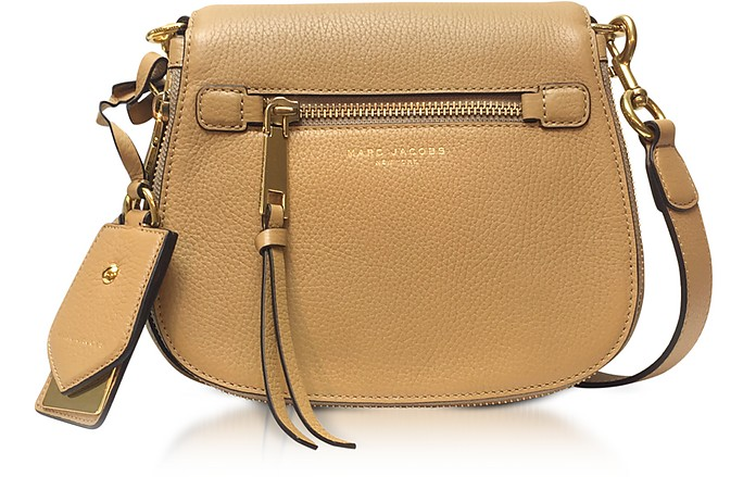 Recruit Golden Beige Leather Small Saddle Bag - Marc Jacobs