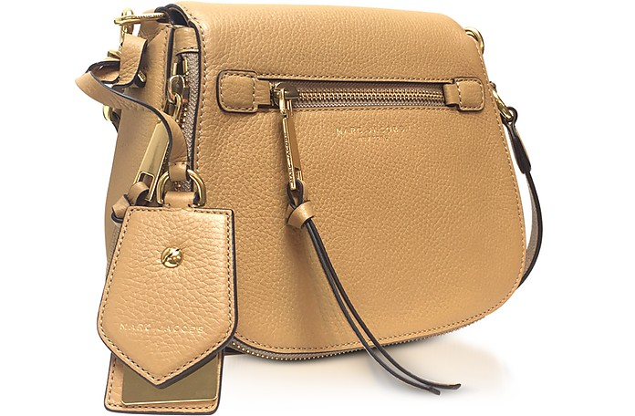 2329e6749463ff Marc Jacobs Recruit Golden Beige Leather Small Saddle Bag at FORZIERI