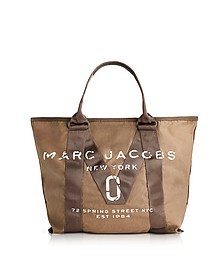 New Logo French Grey Cotton Tote - Marc Jacobs