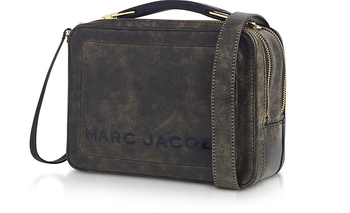 Marc Jacobs Black The Box Top Handle Leather Squared Satchel Bag at ... 07ccf98baa0c8