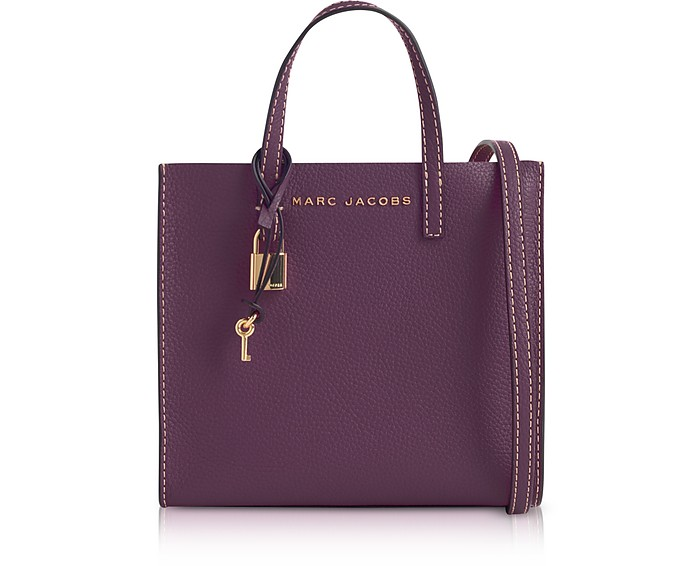 9729aa1940a8 Marc Jacobs Grape The Grind Mini Leather Tote Bag at FORZIERI