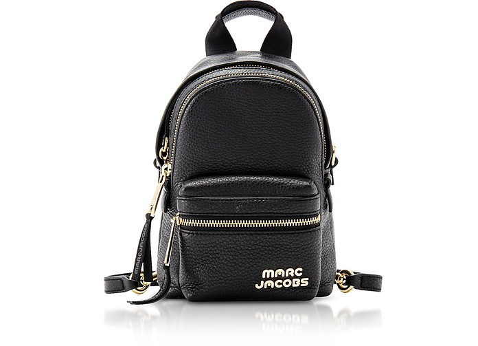 Trek Black Leather Micro Backpack - Marc Jacobs