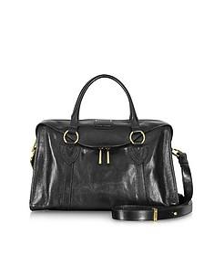 Large Fulton Black Leather Satchel w/Shoulder Strap