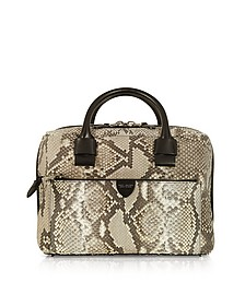 Small Antonia Python Leather Satchel Bag