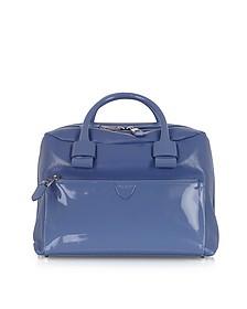 Small Antonia Denim Blue Leather Satchel