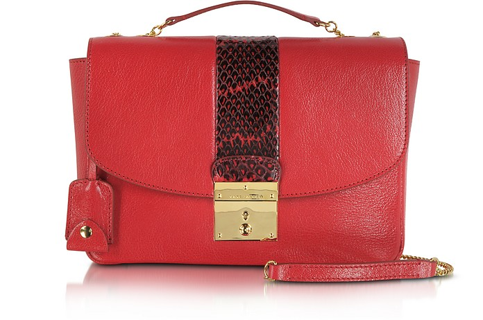 58053cd224ea Mini Polly Flame Red Leather   Ayers Snakeskin Shoulder Bag - Marc Jacobs