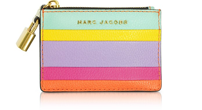 The Grind Colorblocked Leather Top Zip Card Holder - Marc Jacobs
