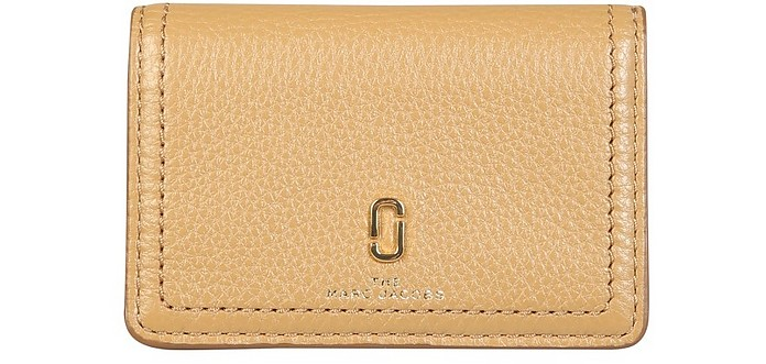 Genuine Embossed Leather Credit Card Holder W/Logo - Marc Jacobs