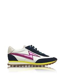 Astor White & Multicolor Nylon Sneaker w/Lightning Bolt Logo - Marc Jacobs
