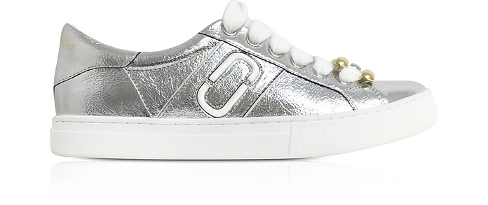 Silver Leather Empire Chain Link Low Top Sneakers - Marc Jacobs