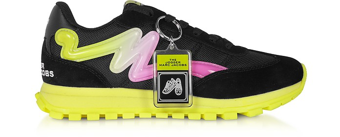 The Jogger Black & Neon Nylon Women's Sneakers - Marc Jacobs