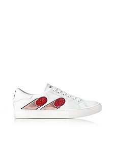 Sneakers Empire Finger in Pelle Bianco Ottico con Strass - Marc Jacobs