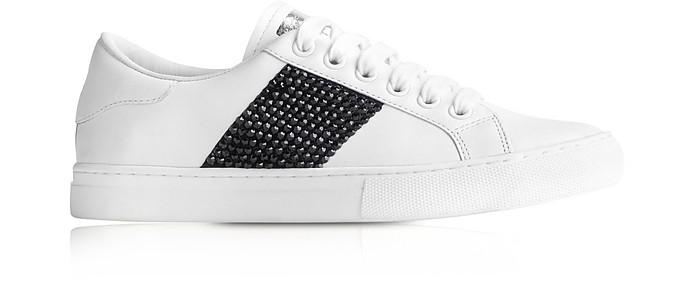 Black Crystal White Leather Empire Low Top Sneaker - Marc Jacobs