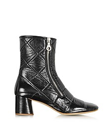 Black Quilted Patent Leather Boot