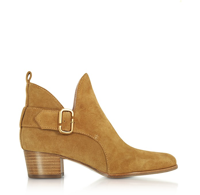 Camel Suede Ginger Interlock Ankle Boots - Marc Jacobs