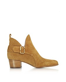 Ginger Interlock - Bottines à Talons Mi-hauts en Suède Camel - Marc Jacobs