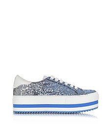Blue Glitter Grand Flatform Lace Up Sneakers - Marc Jacobs