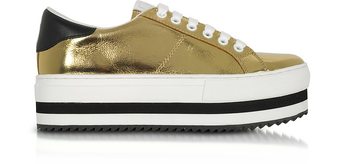 7cf819501659 Marc Jacobs Gold Laminated Leather Grand Flatform Lace Up Sneakers ...