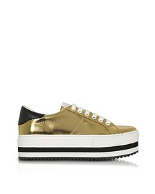Gold Laminated Leather Grand Flatform Lace Up Sneakers - Marc Jacobs