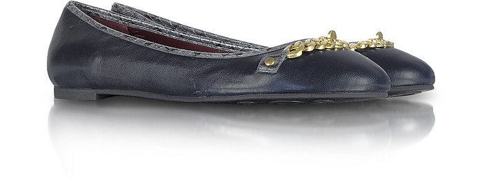 Gold Chain and Ink Blue Leather Ballerina Flat - Marc by Marc Jacobs