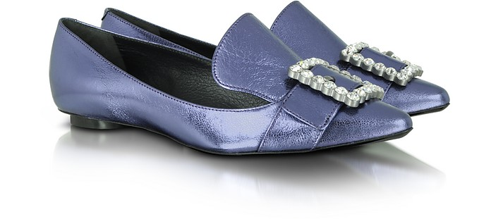 Violet Lame Leather and Crystal Buckle Loafer - Marc Jacobs
