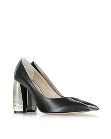 Black Leather and Snakeskin Pump