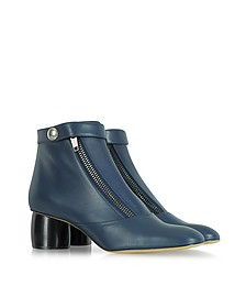 Midnight Blue Double-Zip Leather Ankle Boot
