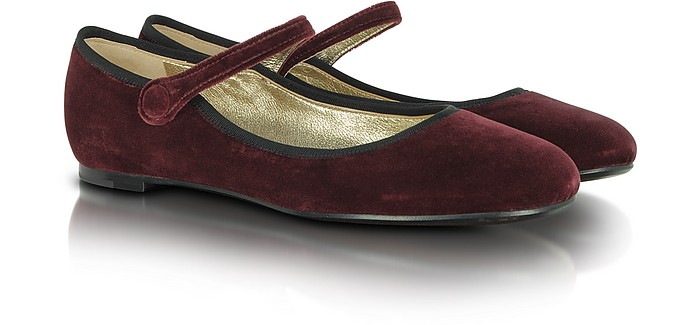 Mary Jane Ballerina in Velluto Bordeaux - Marc Jacobs