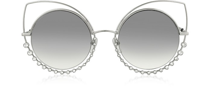 MARC 16/S EEIIC Silver Metal and Crystals Cat Eye Women's Sunglasses - Marc Jacobs / マーク ジェイコブス