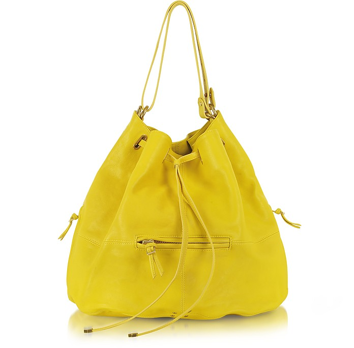 Alain Yellow Leather Shoulder Bag - Jerome Dreyfuss