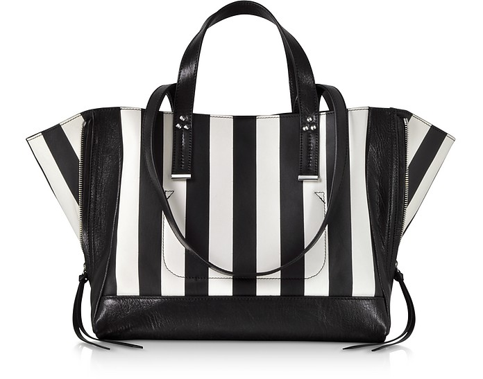 Georges M Black and White Stripes Leather Tote Bag - Jerome Dreyfuss