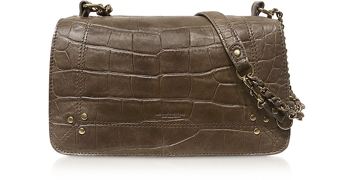 Bobi Khaki Croco Embossed Leather Shoulder Bag - Jerome Dreyfuss