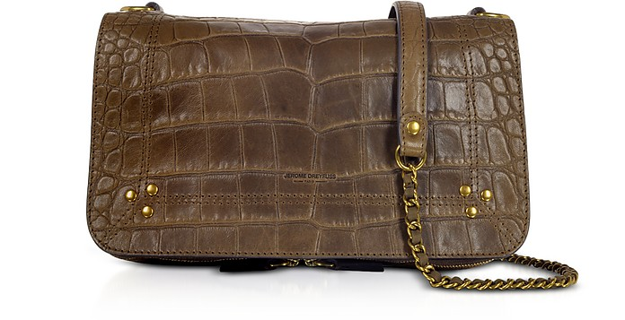 Bobi Khaki Croco Embossed Leather Shoulder Bag - Jerome Dreyfuss