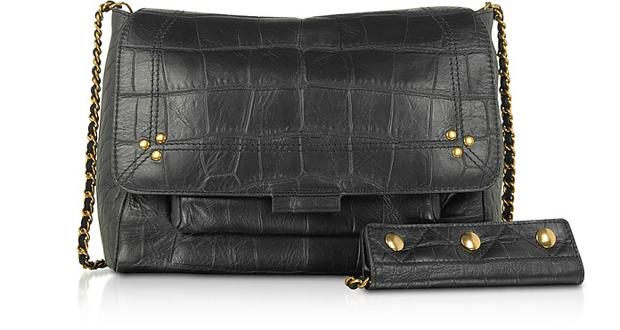 Lulu M Croco Embossed Leather Shoulder Bag - Jerome Dreyfuss