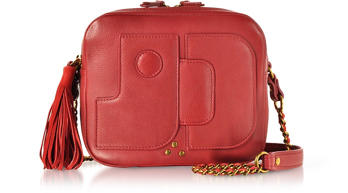 Pascal Lipstick Red Leather Shoulder Bag - Jerome Dreyfuss