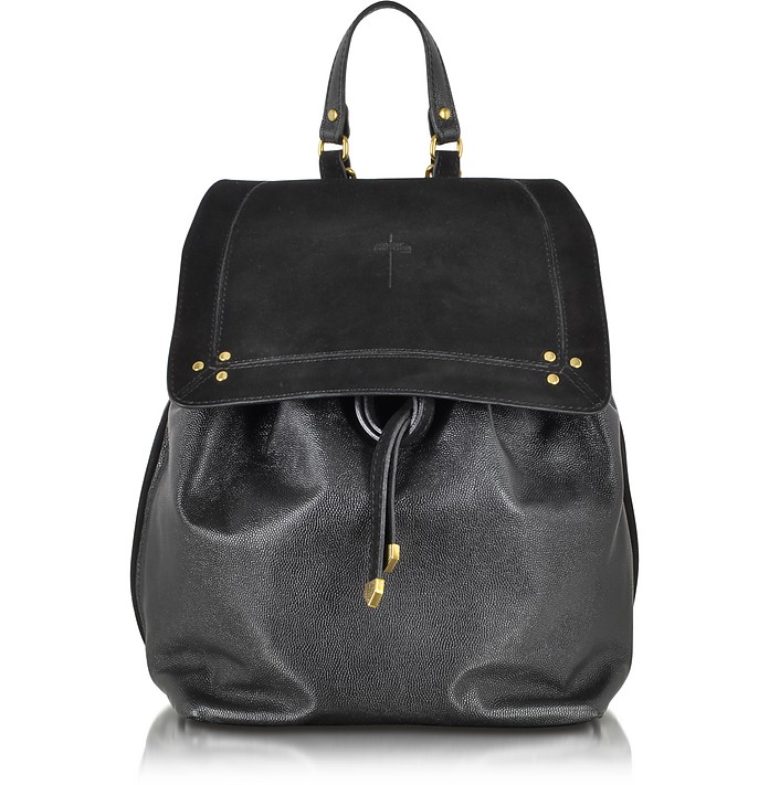 Florent Black Leather and Velvet Backpack - Jerome Dreyfuss