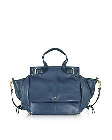 Johan Petrol Blue Leather Shoulder Bag