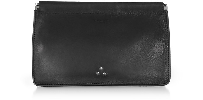 aeab168604fbb Jerome Dreyfuss Popoche Clic Clac Large Black Leather Clutch at ...