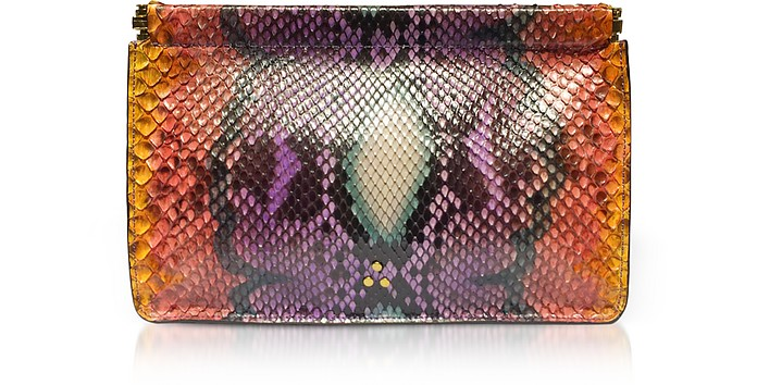 Popoche Clic Clac Large Nirvana Printed Python Clutch - Jerome Dreyfuss