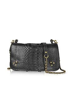 Bobi Black Python Leather Shoulder Bag - Jerome Dreyfuss